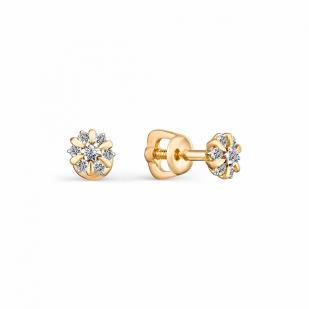 Золотые гвоздики Цветочки с бриллиантами 23026-100 фото