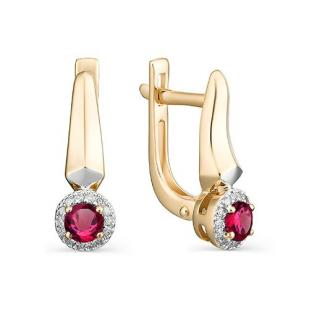 Серьги из розового золота с рубинами, бриллиантами 23085-103