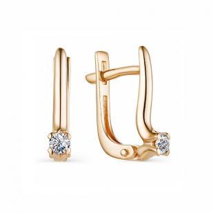 Классические серьги из розового золота с бриллиантами 23249-100