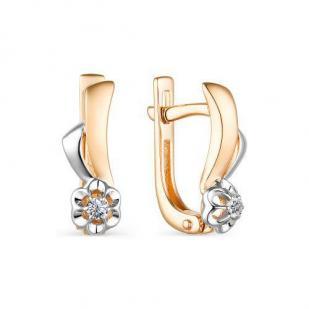 Золотые серьги Цветочки с бриллиантами 23613-100 фото