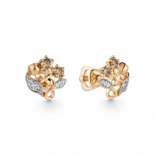 Золотые пусеты в виде букета из бриллиантов 23205-117 фото