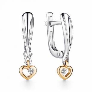Серебряные серьги с золотом и бриллиантом Сердце фото