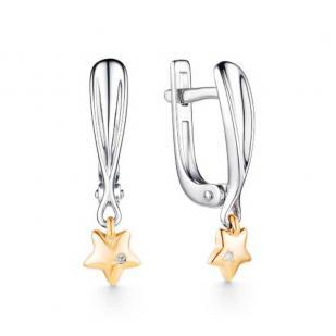 Серебряные серьги с золотом и бриллиантом Звездочка