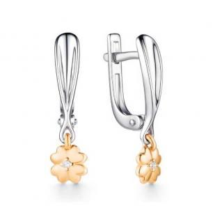 Серебряные серьги с золотом и бриллиантом Клевер фото