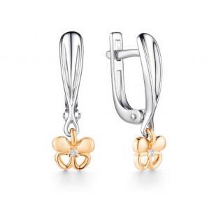 Серебряные серьги с золотом и бриллиантом Бабочка