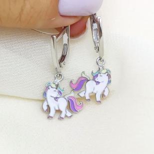 Серебряные серьги Пони фото