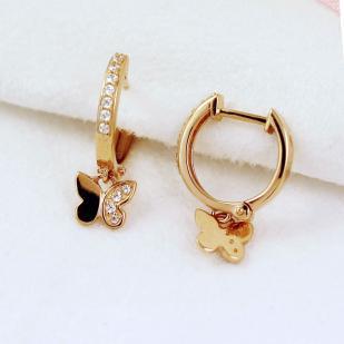 Золотые сережки с Бабочкой фото