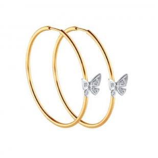 Золотые серьги кольца с бабочками 1021164