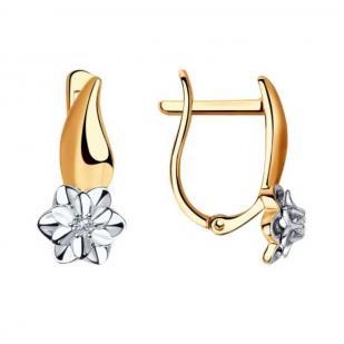 Золотые серьги с бриллиантами Цветочек 1021312