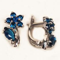 Серебряные серьги Синий цветок