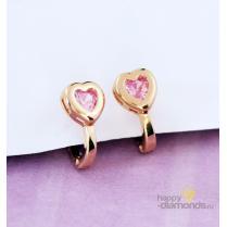 """Золотые серьги """"Сердечки с розовыми камнями"""""""