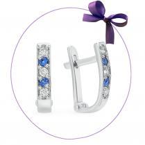Серьги дорожки из серебра с бело-голубыми фианитами