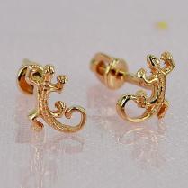 Золотые серьги Ящерица