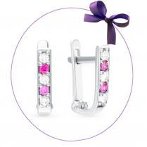 Серьги дорожки из серебра с бело- розовыми фианитами