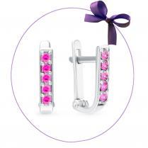 Серьги дорожки из серебра с розовыми фианитами