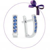 Серьги дорожки из серебра с синими фианитами
