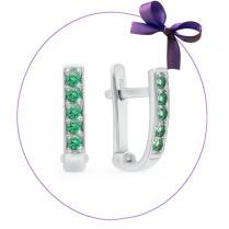 Серьги дорожки из серебра с зелеными фианитами
