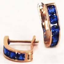 Золотые серьги дорожки с синими фианитами