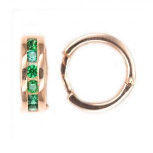 Серьги-кольца с зелеными фианитами