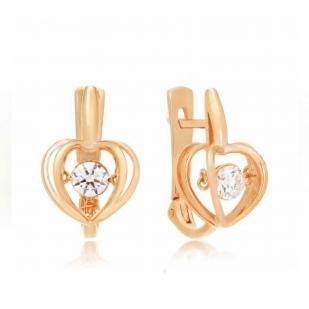 Золотые серьги с танцующим фианитом сердце