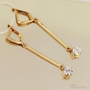 Серьги палочки из золота с фианитами
