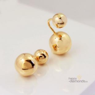 Золотые серьги шары в стиле dior