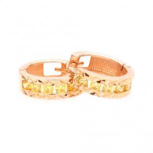 Золотые круглые серьги дорожки с камнями фото
