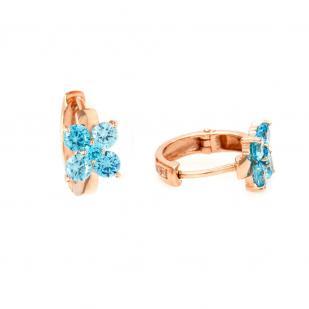 Золотые серьги на круглом замке Цветочек голубой