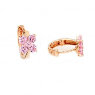 Золотые серьги на круглом замке Цветочек розовый