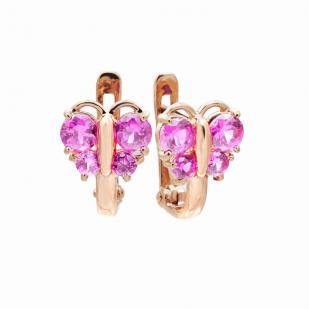Детские серьги розовые бабочки фото
