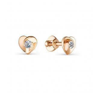 Гвоздики сердечки с бриллиантами из розового золота 21640-100 фото