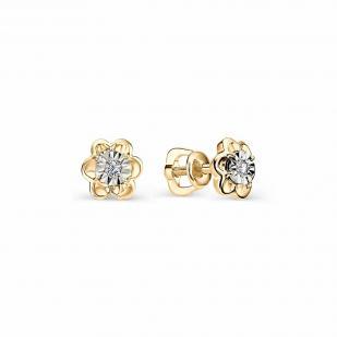 Пусеты из золота Ромашка с бриллиантом 22095-100 фото