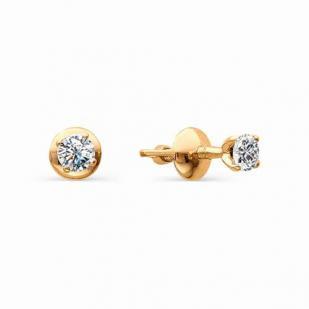 Золотые пусеты с бриллиантами 0.26 карат фото