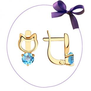 Золотые сережки Кошечки с топазами 726948 фото