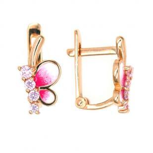 """Серьги золотые """"Бабочки"""" с розовой эмалью фото"""