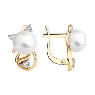 Золотые сережки Кошечки с жемчугом 792227  фото