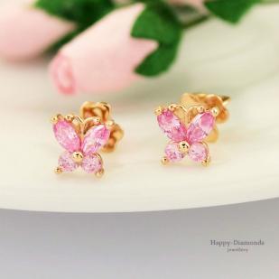 Детские золотые гвоздики Бабочки розовые
