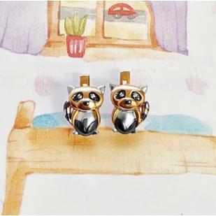 Золотые серьги Еноты фото