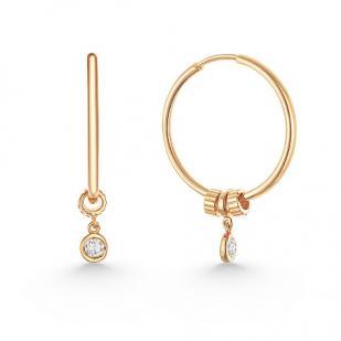 Золотые серьги кольца с шармами и фианитами фото