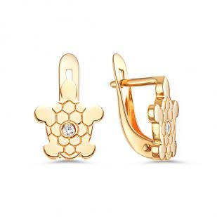 Золотые серьги Черепахи с фианитами фото