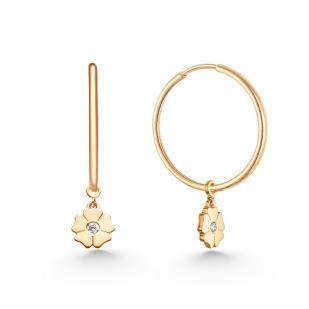 Золотые серьги кольца с подвеской цветок фото