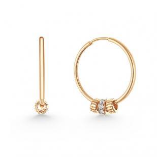 Золотые серьги кольца с шармами фото