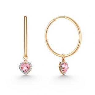Золотые серьги кольца с подвеской сердце фото