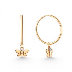 Золотые серьги кольца с подвеской пчёлка фото