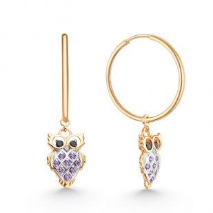 Золотые серьги кольца с подвеской сова фото