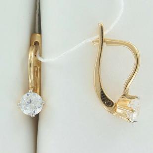 Золотые сережки на английском замке с двумя фианитами фото