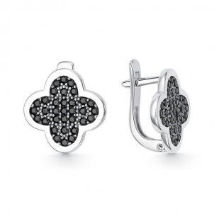 Серебряные серьги клеверы с черными фианитами фото