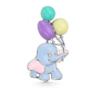 Детская брошь слоник с шарами фото