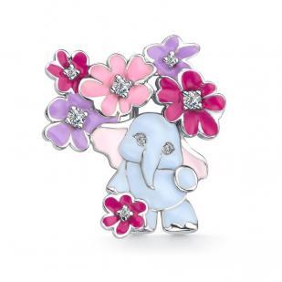 Детская брошь слоник с цветами фото