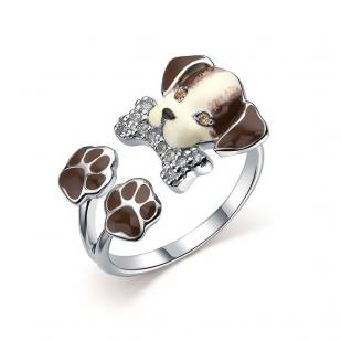 Кольцо собачка серебряное фото